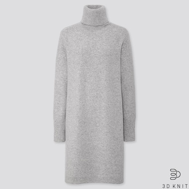 WOMEN 3D KNIT PREMIUM LAMBSWOOL TURTLENECK LONG SLEEVED DRESS (SHORT)