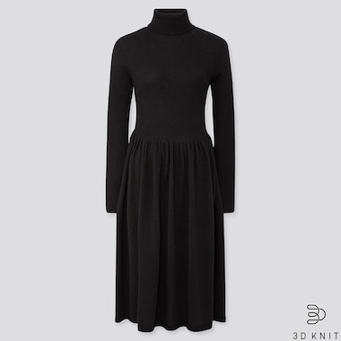 WOMEN 3D SEAMLESS KNIT EXTRA FINE MERINO RIBBED TURTLENECK LONG SLEEVED DRESS (SHORT)
