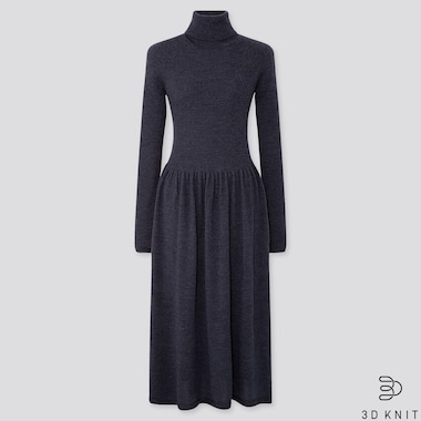 WOMEN 3D SEAMLESS KNIT EXTRA FINE MERINO RIBBED TURTLENECK DRESS (LONG)