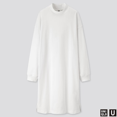 WOMEN U MOCK NECK LONG-SLEEVE T-SHIRT DRESS, WHITE, medium