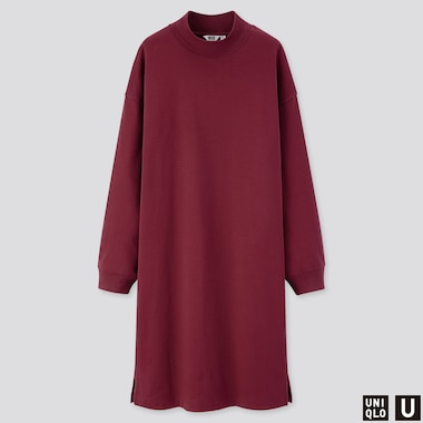 WOMEN U MOCK NECK LONG-SLEEVE T-SHIRT DRESS, WINE, medium