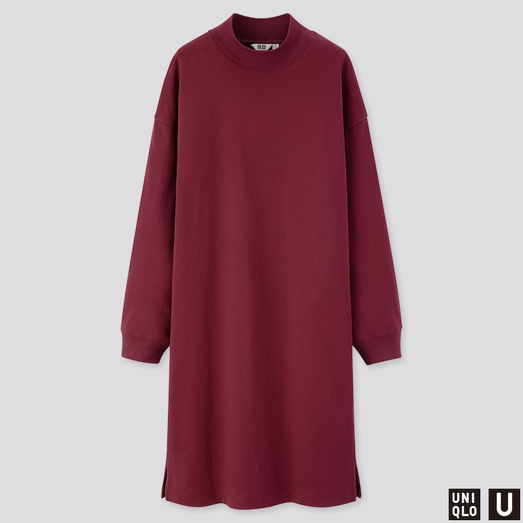 WOMEN U MOCK NECK LONG-SLEEVE T-SHIRT DRESS, WINE, large