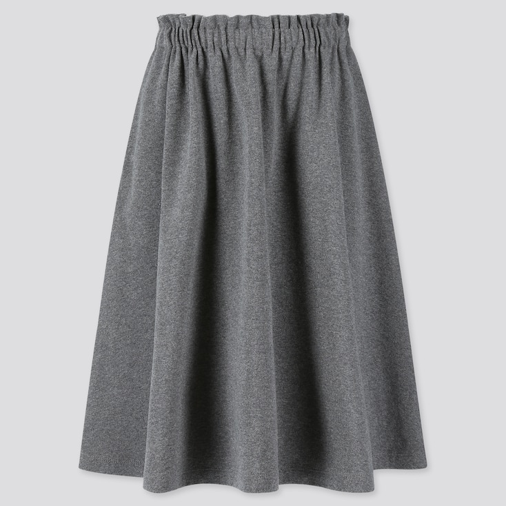 GIRLS JERSEY MIDI SKIRT, DARK GRAY, large