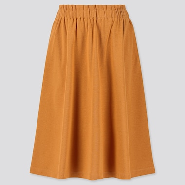 GIRLS JERSEY MIDI SKIRT, YELLOW, medium