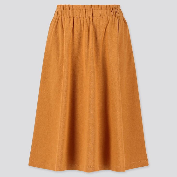 GIRLS JERSEY MIDI SKIRT, YELLOW, large