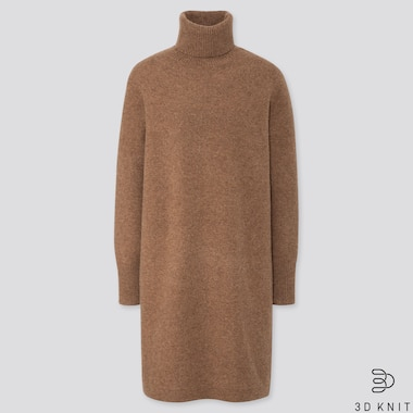 WOMEN 3D KNIT PREMIUM LAMBSWOOL TURTLENECK LONG SLEEVED DRESS (LONG)