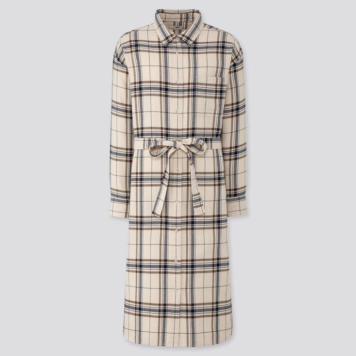 WOMEN FLANNEL LONG-SLEEVE SHIRT DRESS, NATURAL, large