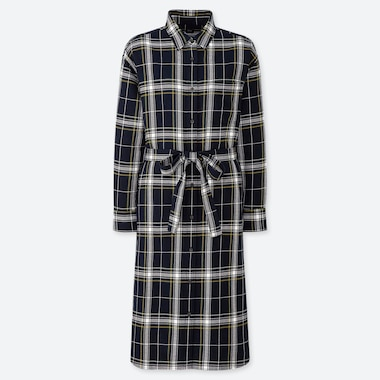 WOMEN FLANNEL LONG-SLEEVE SHIRT DRESS, NAVY, medium