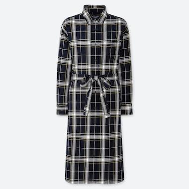 WOMEN FLANNEL LONG-SLEEVE SHIRT DRESS, NAVY, medium