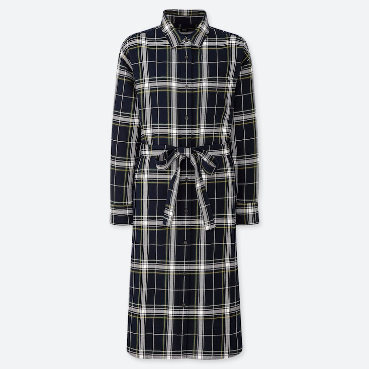 WOMEN FLANNEL LONG-SLEEVE SHIRT DRESS, NAVY, large