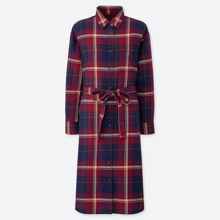 WOMEN FLANNEL LONG-SLEEVE SHIRT DRESS, RED, large