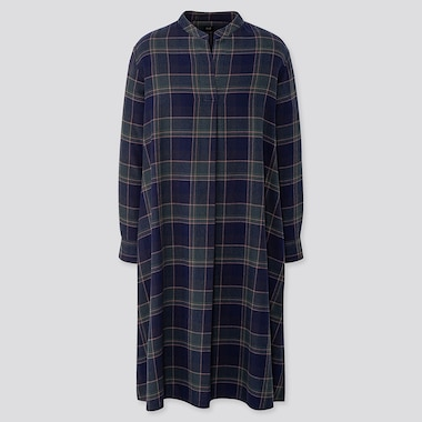 WOMEN FLANNEL A-LINE LONG-SLEEVE DRESS, NAVY, medium