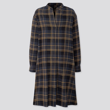 WOMEN FLANNEL A-LINE CHECKED LONG SLEEVED DRESS