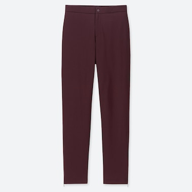 WOMEN HEATTECH WARM-LINED PANTS (LONG) (ONLINE EXCLUSIVE), WINE, medium