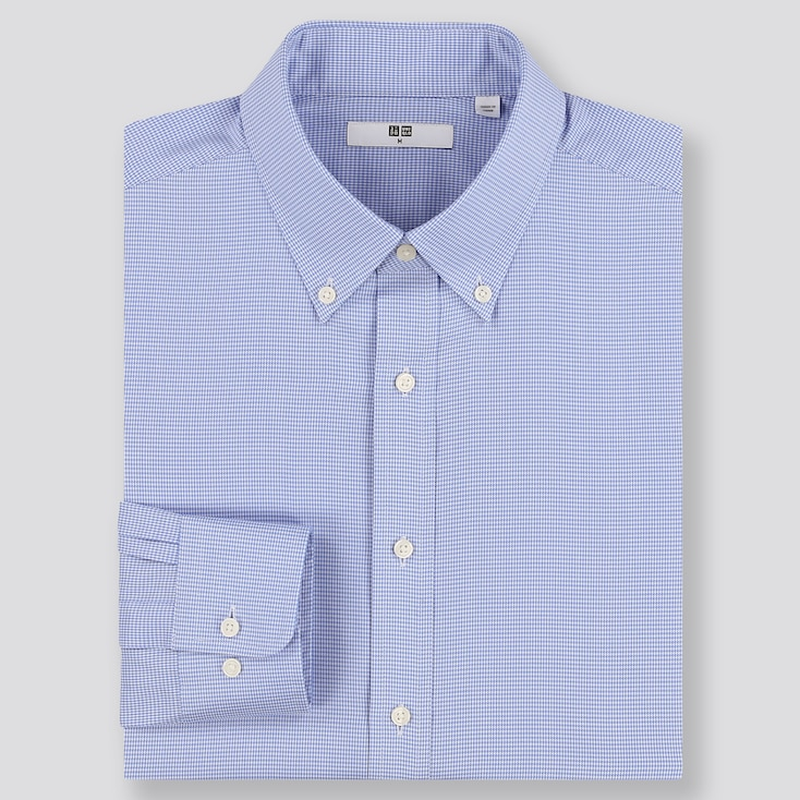 MEN EASY CARE CHECKED REGULAR-FIT LONG-SLEEVE SHIRT (ONLINE EXCLUSIVE), BLUE, large