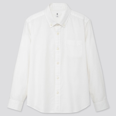 KIDS OXFORD LONG-SLEEVE SHIRT, OFF WHITE, medium