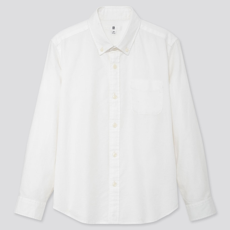 KIDS OXFORD LONG-SLEEVE SHIRT, OFF WHITE, large