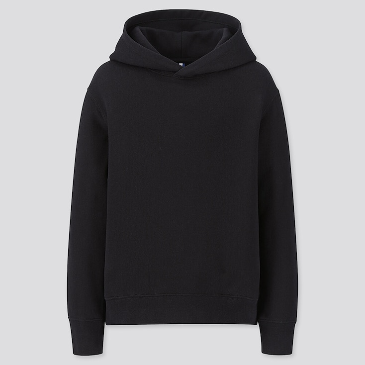 Kids Sweat Pullover Hoodie, Black, Large