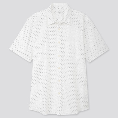 MEN EXTRA FINE COTTON PRINTED SHORT-SLEEVE SHIRT, OFF WHITE, medium
