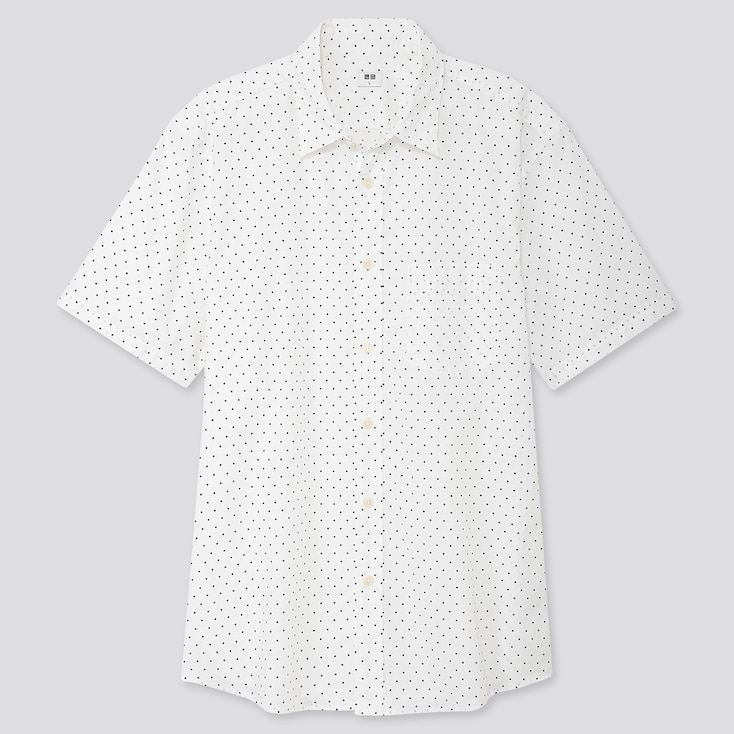MEN EXTRA FINE COTTON PRINTED SHORT-SLEEVE SHIRT, OFF WHITE, large