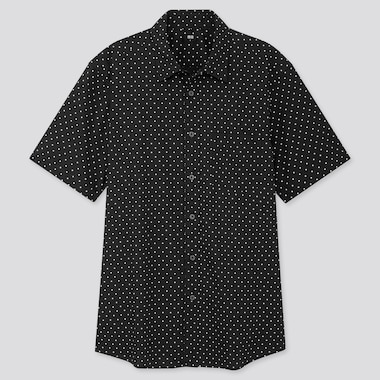 MEN EXTRA FINE COTTON PRINTED SHORT-SLEEVE SHIRT, BLACK, medium