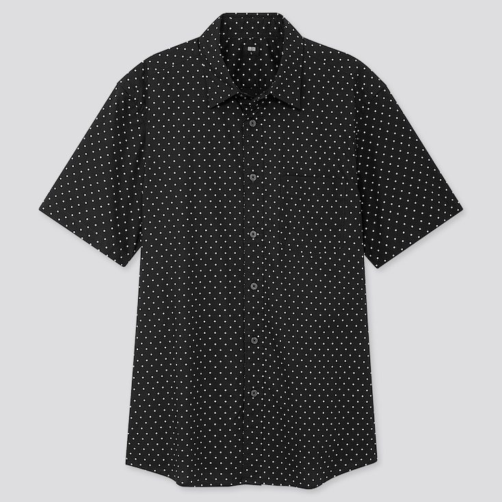 MEN EXTRA FINE COTTON PRINTED SHORT-SLEEVE SHIRT, BLACK, large