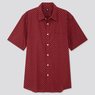 MEN EXTRA FINE COTTON PRINTED SHORT-SLEEVE SHIRT, RED, medium
