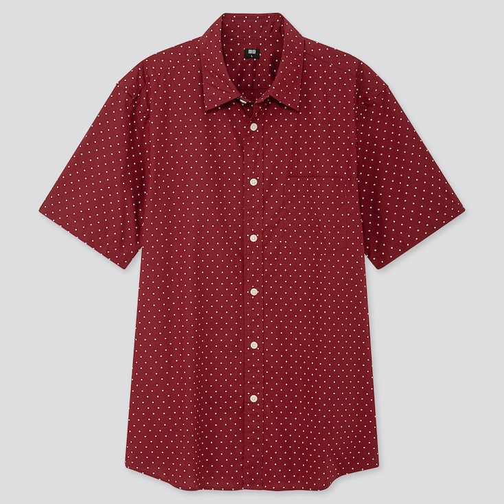 MEN EXTRA FINE COTTON PRINTED SHORT-SLEEVE SHIRT, RED, large