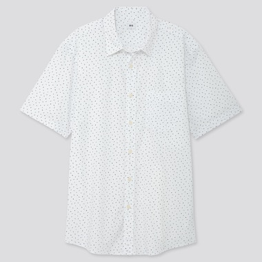 MEN EXTRA FINE COTTON PRINTED SHORT-SLEEVE SHIRT, WHITE, medium