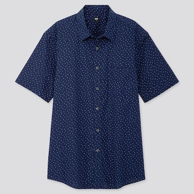 MEN EXTRA FINE COTTON PRINTED SHORT-SLEEVE SHIRT, NAVY, medium