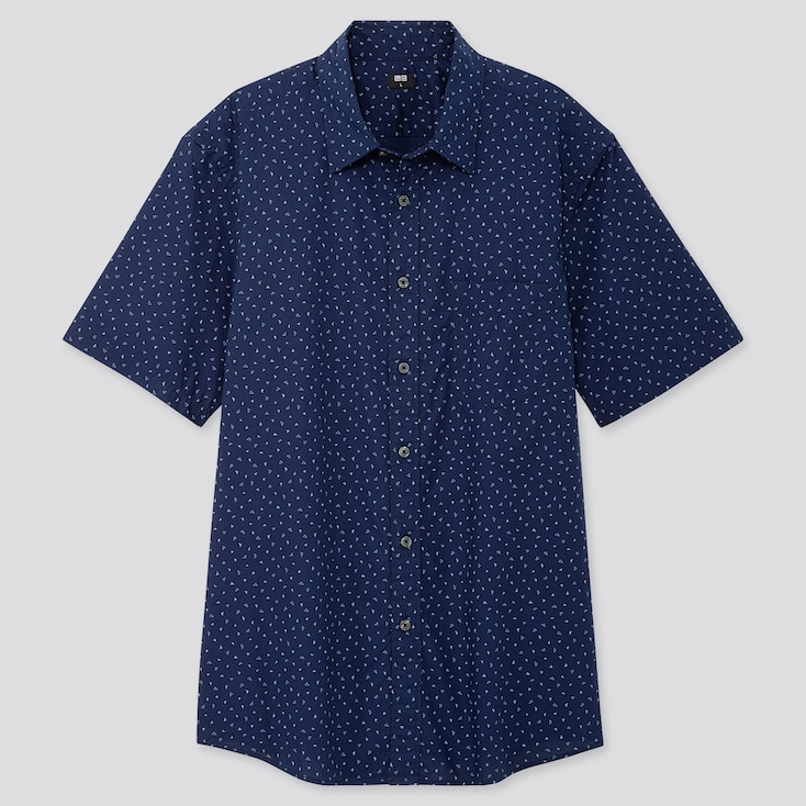 MEN EXTRA FINE COTTON PRINTED SHORT-SLEEVE SHIRT, NAVY, large