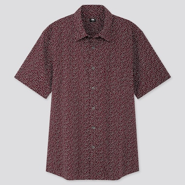 MEN EXTRA FINE COTTON PRINTED SHORT-SLEEVE SHIRT, WINE, medium