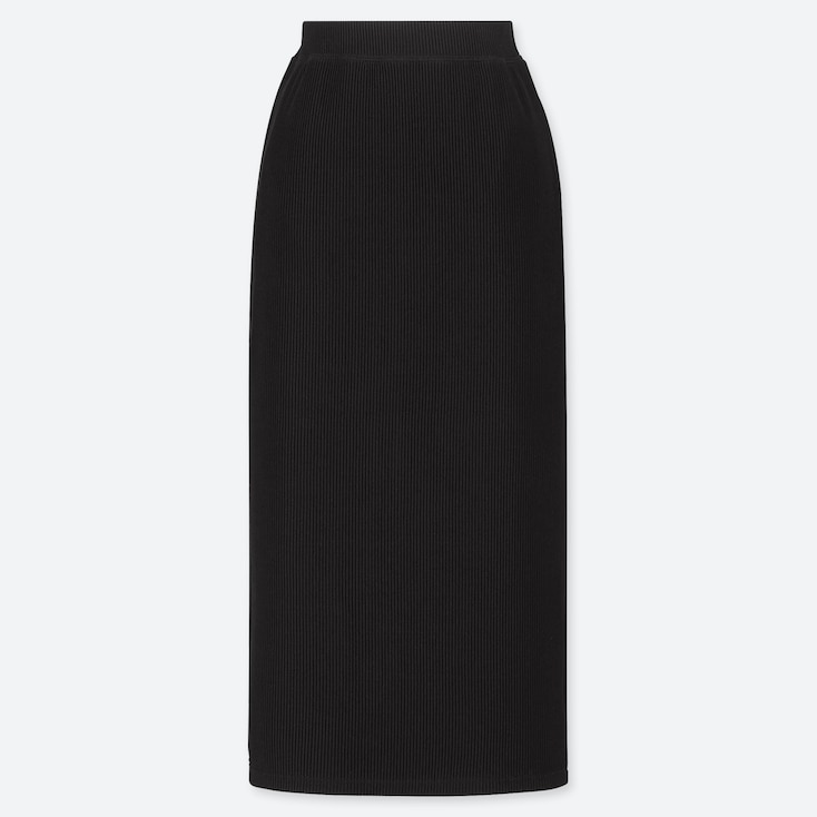 WOMEN RIBBED PENCIL LONG SKIRT (ONLINE EXCLUSIVE), BLACK, large