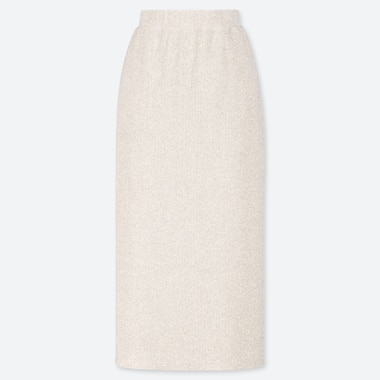 WOMEN RIBBED PENCIL LONG SKIRT (ONLINE EXCLUSIVE), NATURAL, medium