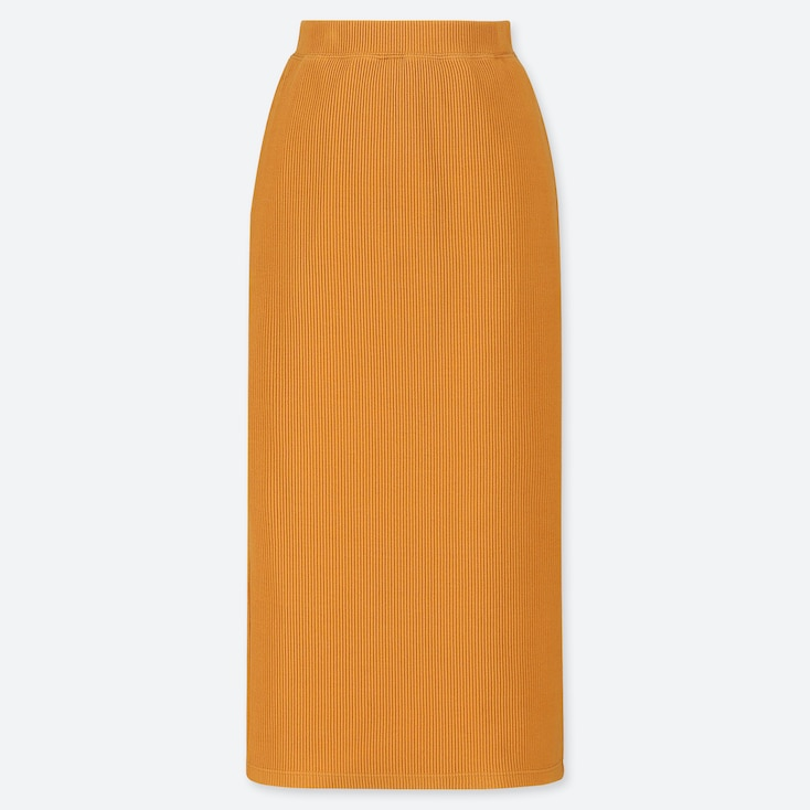 WOMEN RIBBED PENCIL LONG SKIRT (ONLINE EXCLUSIVE), YELLOW, large