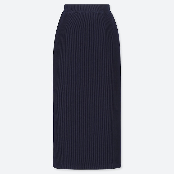 WOMEN RIBBED PENCIL LONG SKIRT (ONLINE EXCLUSIVE), NAVY, large