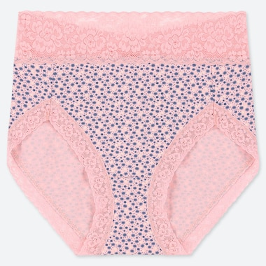 WOMEN FLORAL HIGH-RISE BRIEFS, PINK, medium