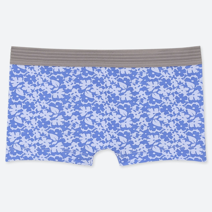 Women Floral Boy Shorts, Light Blue, Large