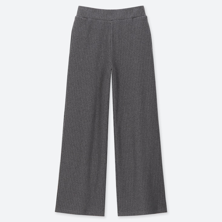 WOMEN COTTON RIBBED WIDE PANTS, DARK GRAY, large