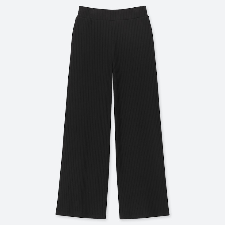 WOMEN COTTON RIBBED WIDE FIT TROUSERS