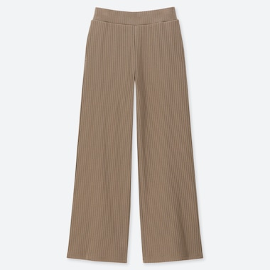 WOMEN COTTON RIBBED WIDE PANTS, KHAKI, medium