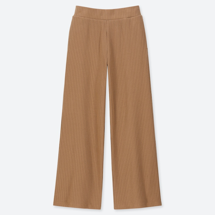 WOMEN COTTON RIBBED WIDE PANTS, BROWN, large