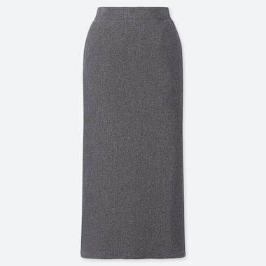 WOMEN RIBBED LONG PENCIL SKIRT, DARK GRAY, medium