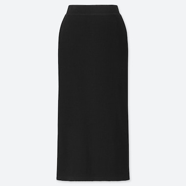 WOMEN RIBBED LONG PENCIL SKIRT, BLACK, medium