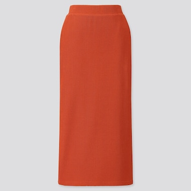 WOMEN RIBBED LONG PENCIL SKIRT, ORANGE, medium