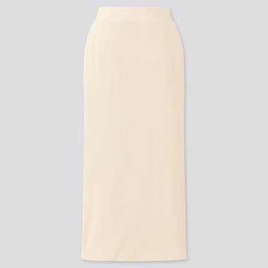 WOMEN RIBBED LONG PENCIL SKIRT, BEIGE, medium