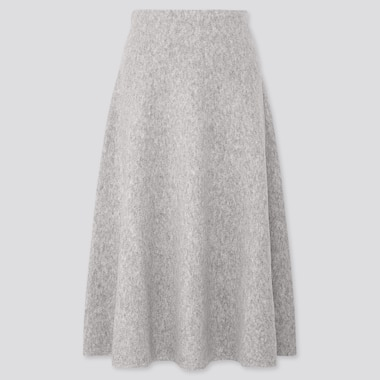 WOMEN SOUFFLE YARN FLARE SKIRT, LIGHT GRAY, medium