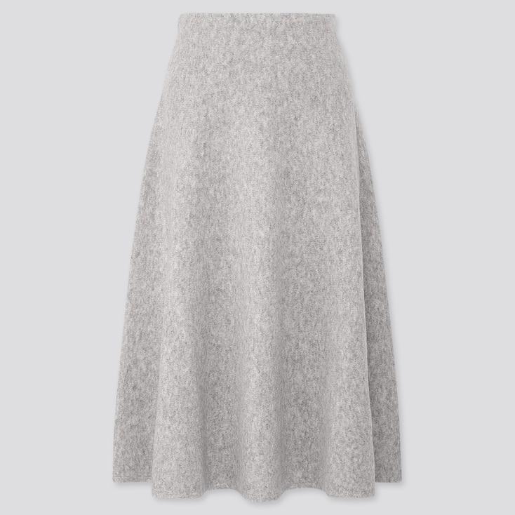 Women Souffle Yarn Flare Skirt, Light Gray, Large