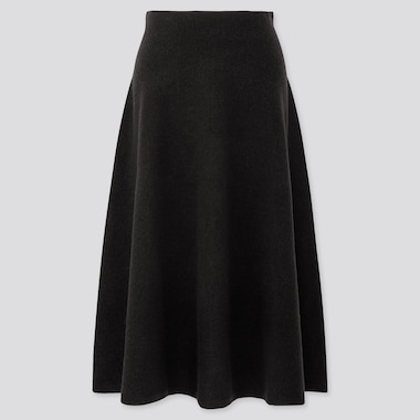 WOMEN SOUFFLE YARN FLARE SKIRT, BLACK, medium