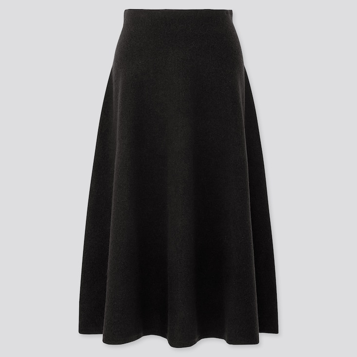 WOMEN SOUFFLE YARN FLARE SKIRT, BLACK, large